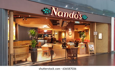 Kuala Lumpur, Malaysia - March 2017: Nando's is an international casual dining restaurant chain originating in South Africa. Founded in 1987, Nando's operates about 1,000 outlets in 30 countries.