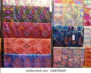 Kuala Lumpur, Malaysia - March 2019: Various pattern and design of local Malaysian songket on display for sale
