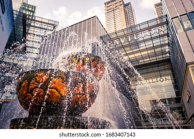 KUALA LUMPUR, MALAYSIA: MARCH, 2020: The fountain outside Pavilion shopping centre in Bukit Bintang, a famous part of the city for its shopping and vibrant nightlife