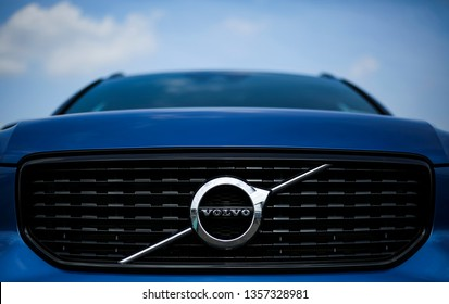 KUALA LUMPUR, MALAYSIA - MARCH 22, 2019 : Logo of Volvo cars. VOLVO, is a Swedish luxury vehicles company and is a subsidiary of the Chinese automotive company Geely.