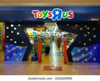 "KUALA LUMPUR, MALAYSIA - MARCH 23, 2018 : Toys ""R"" Us shop at 1 Utama Shopping Mall. It is an American toy and juvenile-products retailer founded in 1948 and headquartered in Wayne, New Jersey"