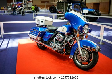 KUALA LUMPUR, MALAYSIA - March 23, 2018 : 2012 Harley Davidson Electra Glide Standard Police , the Sultan of Johore's private collection is on display at Malaysia Bike Week 2018 jamboree.