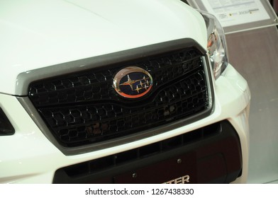 KUALA LUMPUR, MALAYSIA -MARCH 23, 2018: Selected focused of Subaru commercial brand emblem and logos at the car body. Subaru is one of the famous cars manufactures in the world from Japan.