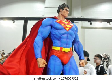KUALA LUMPUR, MALAYSIA -MARCH 24, 2017: Fiction character of SUPERMAN from DC movies and comic. SUPERMAN action figure toys in various size display for public.