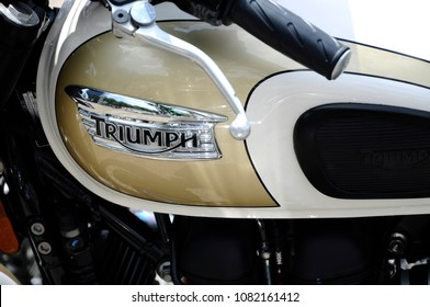 KUALA LUMPUR, MALAYSIA -MARCH 24, 2018: Triumph motorcycle & brand logos. The logos and emblem was printed at the motorcycle body. Some of the logos was different depend to the motorcycle model.