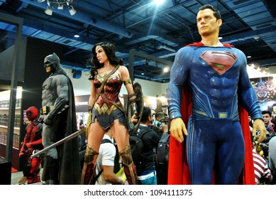 KUALA LUMPUR, MALAYSIA -MARCH 24, 2017: Fiction character of JUSTICE LEAGUE from DC movies and comic. JUSTICE LEAGUE action figure displayed by collector for public.