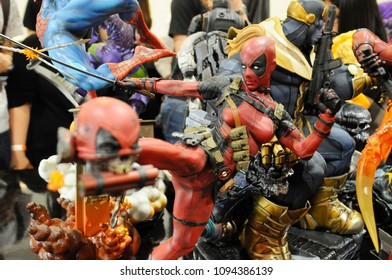KUALA LUMPUR, MALAYSIA -MARCH 24, 2017: Fiction character of Deadpool from Marvel movies and comic. Deadpool action figure toys displayed by collector for the public.