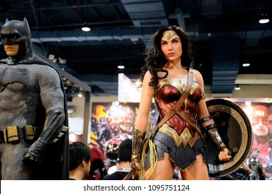 KUALA LUMPUR, MALAYSIA -MARCH 24, 2017: Fiction character of WONDER WOMAN from DC movies and comic. WONDER WOMAN action figure toys in various size displayed by collector for the public.