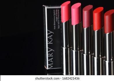 KUALA LUMPUR, MALAYSIA - March 25, 2020: Set of Mary Kay red lipsticks on black background. Mary Kay is cosmetics company founded by Mary Kay Ash in 1963