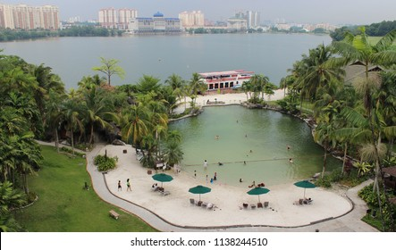 Kuala Lumpur, Malaysia, March 26, 2014. Views of the courtyard and the North lake from Mines Wellness Hotel