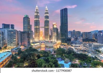 Kuala Lumpur, Malaysia- March 3, 2018:Petronas twin towers at night in  Kuala Lumpur, Malaysia