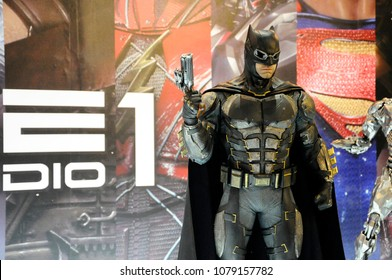KUALA LUMPUR, MALAYSIA -MARCH 31, 2018: Fiction character of Batman from DC movies and comic. Batman action figure toys in various size display for public.