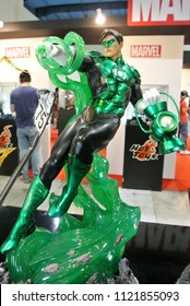 KUALA LUMPUR, MALAYSIA -MARCH 31, 2018: Fictional action figures the character of GREEN LANTERN from DC movies and comic. Collector item Green Lantern is one of the famous member of Justice League.