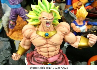 KUALA LUMPUR, MALAYSIA -MARCH 31, 2018: Model scale action figures characters from popular Japanese animated series DRAGONBALL. Display by collector and fan in the table.