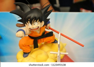KUALA LUMPUR, MALAYSIA -MARCH 31, 2018: Model scale action figures characters from popular Japanese animated series DRAGONBALL. Display by collector and fan on the table.