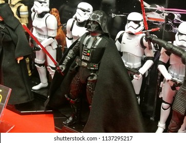 KUALA LUMPUR, MALAYSIA -MARCH 31, 2018: Fictional character action figures of Darth Vader from Star Wars franchise movies display by collector for public. The antagonist character against Jedi.