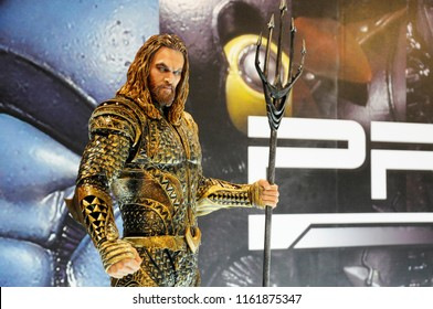 KUALA LUMPUR, MALAYSIA -MARCH 31, 2018: Fiction character of AQUAMAN from DC movies and comic. AQUAMAN action figure toys in display for the public by collector and fan.