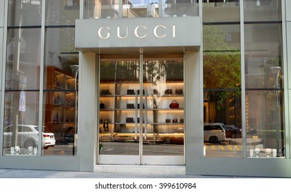 KUALA LUMPUR, MALAYSIA - March 31, 2016. Gucci exclusive store in center of Kuala Lumpur city. Gucci is a Italy luxury fashion company. Founded in Florence, Italy since 1921.
