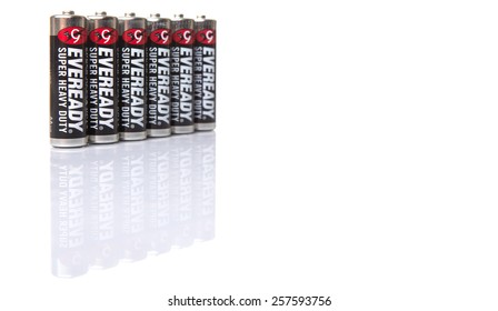 KUALA LUMPUR, MALAYSIA - MARCH 3RD 2015. Eveready AA batteries. Energizer Holdings is an American manufacturer of batteries and are sold in over 165 countries worldwide.