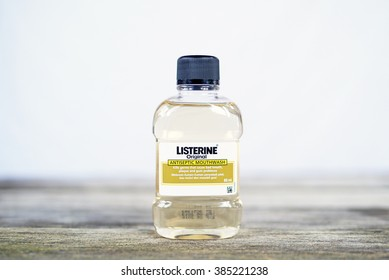 KUALA LUMPUR, MALAYSIA - MARCH 3RD, 2016: Listerine Original Antiseptic Mouthwash. Listerine is a brand of antiseptic mouthwash, first introduced in 1879.
