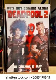 KUALA LUMPUR, MALAYSIA - MARCH 4, 2018: Deadpool 2 movie poster, is an upcoming American superhero film based on the Marvel Comics character Deadpool