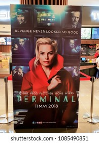KUALA LUMPUR, MALAYSIA - MARCH 4, 2018: Terminal movie poster, is an upcoming heist thriller film written and directed by Vaughn Stein. The film stars Margot Robbie