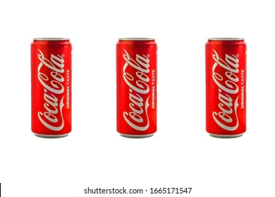 Kuala Lumpur, Malaysia - March 5, 2020 : Cola cola drink or Coke on white background. Coca Cola is competitor of Pepsi drink