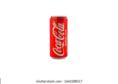 Kuala Lumpur, Malaysia - March 5, 2020 : Cola cola or Coke drink on white background. Coca Cola is competitor of Pepsi drink