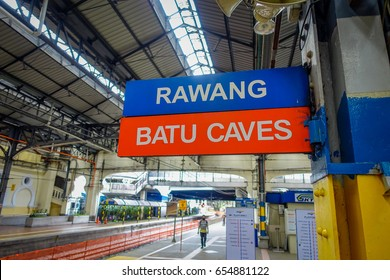 Kuala Lumpur, Malaysia - March 9, 2017: Train station in Batu Caves, a limestone hill with big and small caves and cave temples and a very popular Hindu shrine outside India.