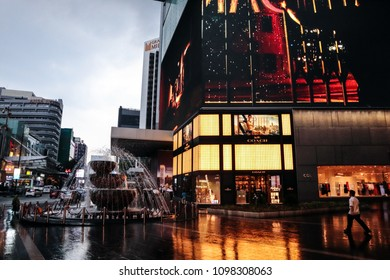 KUALA LUMPUR, MALAYSIA – May 07, 2018- Its often in monsoons season, rainy day afternoon the day turns into night due to heavy sower at city centre Pavilion Bukit Bintang.