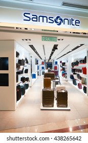 KUALA LUMPUR, MALAYSIA - MAY 09, 2016: Samsonite store in Suria KLCC. Suria KLCC is located in the Kuala Lumpur City Centre district. It is in the vicinity of the landmark the Petronas Towers.