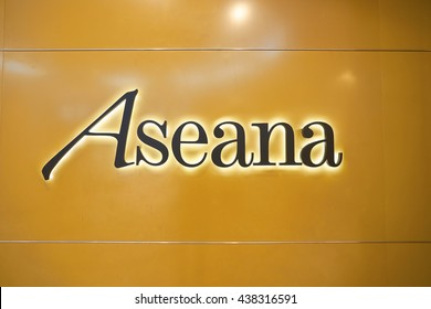 KUALA LUMPUR, MALAYSIA - MAY 09, 2016: Aseana inscritpion on the wall inside of Suria KLCC. Suria KLCC is a shopping mall is located in the Kuala Lumpur City Centre district.