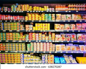 KUALA LUMPUR, MALAYSIA - MAY 12, 2017: Rows of shelf inside Village Grocer Jaya Hypermarket, a local shopping chain that offers imported FMCG sundry and fresh organic marketing experience