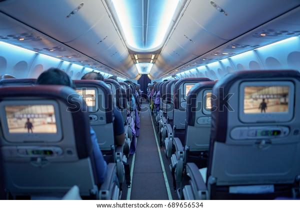 KUALA LUMPUR, MALAYSIA - MAY 12, 2014: inside Malaysia Airlines Boeing 737. Malaysia Airlines is a major airline operating flights from Kuala Lumpur International Airport.
