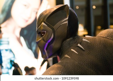 KUALA LUMPUR, MALAYSIA - MAY 13, 2018: Black Panther from the movie Avengers Infinity. Black Panther is a American superhero film based on the Marvel Comics superhero team produced by Marvel Studios