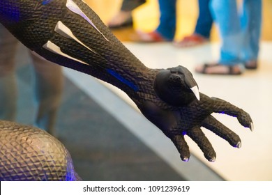 KUALA LUMPUR, MALAYSIA - MAY 13, 2018: Close-up claw from Black Panther from the movie Avengers Infinity.