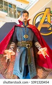 KUALA LUMPUR, MALAYSIA - MAY 13, 2018: Doctor Strange from the movie Avengers Infinity. Doctor Strange is a American superhero film based on the Marvel Comics superhero team produced by Marvel Studios