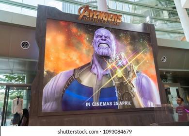 KUALA LUMPUR, MALAYSIA - MAY 13, 2018: Thanos movie poster from the Avengers Infinity Wars on display at the roadshow in Kuala Lumpur, Malaysia