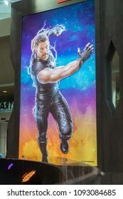 KUALA LUMPUR, MALAYSIA - MAY 13, 2018: Thor movie poster from the Avengers Infinity Wars on display at the roadshow in Kuala Lumpur, Malaysia