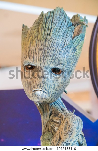 KUALA LUMPUR, MALAYSIA - MAY 13, 2018: Groot from the movie Avengers Infinity. Groot is a American superhero film based on the Marvel Comics superhero team produced by Marvel Studios