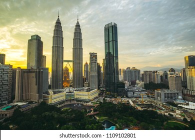 Kuala Lumpur, Malaysia -  May 13,2018 - Petronas Towers and KLCC.Petronas Towers is a high-rise building in Kuala Lumpur, Malaysia.This tower was built in 1998.height is 452 m.