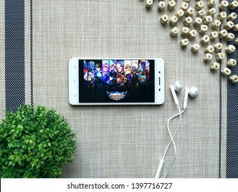 KUALA LUMPUR, MALAYSIA - MAY 14, 2019 : Smartphone with Mobile Legends app. Mobile Legends: Bang Bang is a multiplayer online battle arena game designed for mobile phones.