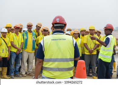 Kuala Lumpur, Malaysia - May 15, 2018 : Environmental, Safety and Health  training for construction workers on site in Kuala Lumpur Malaysia.