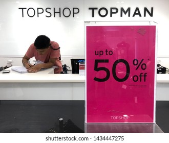 Kuala Lumpur, Malaysia - May 15, 2019 - sale sign in  Topshop, Kuala Lumpur