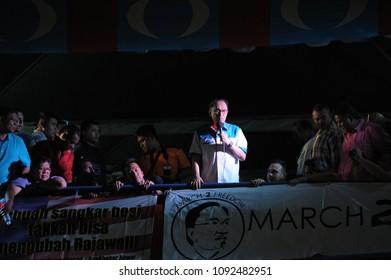 KUALA LUMPUR, MALAYSIA - MAY 16 2018: Pakatan Harapan political party and Datuk Seri Anwar Ibrahim give a speech after released from prison in Kuala Lumpur, Malaysia.