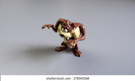 Kuala Lumpur, Malaysia - May 16, 2015: A studio shot of Taz toy character figure. The Tasmanian Devil or Taz or Taz Boy, is animated cartoon character in Warner Bros Looney Tunes and Merrie Melodies