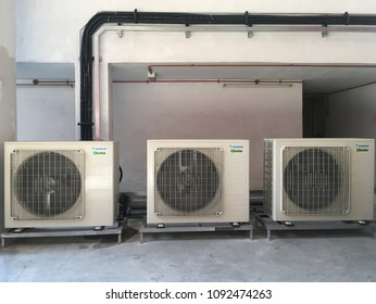 Kuala lumpur , Malaysia May 17 2018 :Air conditioner unit vector illustration isolated, flat white air conditioning unit icon