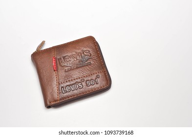 Kuala Lumpur, Malaysia- May 19, 2018; Closeup Levi's leather bag wallet on white background. selective focus.