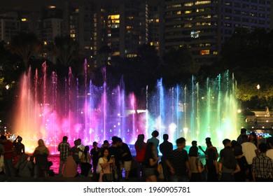 KUALA LUMPUR, MALAYSIA May 1st, 2017: Fountain water in front of Suria Mall night view, KLCC Malaysia 2017