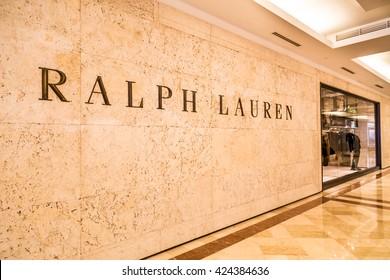 KUALA LUMPUR, MALAYSIA, May 20, 2016:  Ralph Lauren signage on their outlet at KLCC, Kuala Lumpur.  Ralph Lauren corporation is a global multi-billion-dollar enterprise opened in New York in 1967.